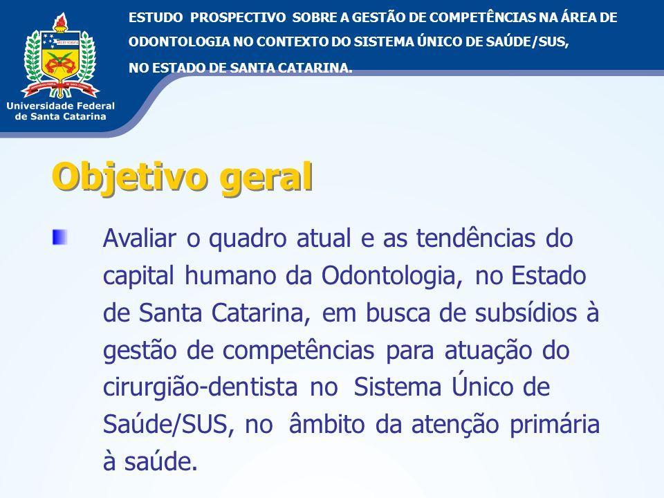Objetivo geral Avaliar o quadro atual e as tendências do capital humano da Odontologia, no Estado de Santa Catarina, em busca de subsídios à gestão de