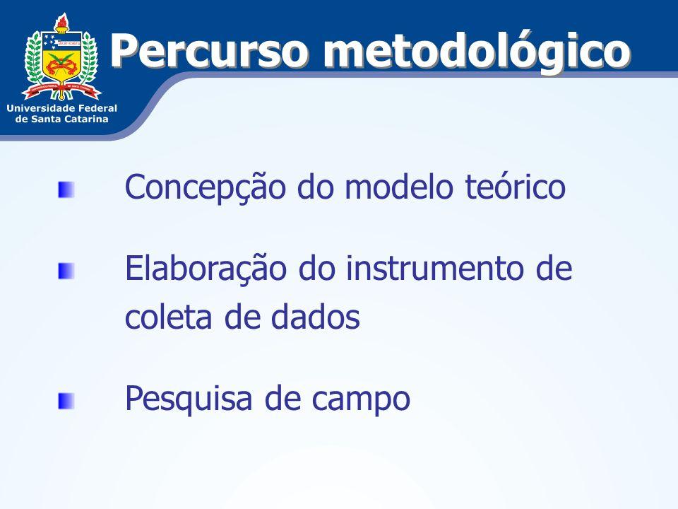 Percurso metodológico Concepção do modelo teórico Elaboração do instrumento de coleta de dados Pesquisa de campo