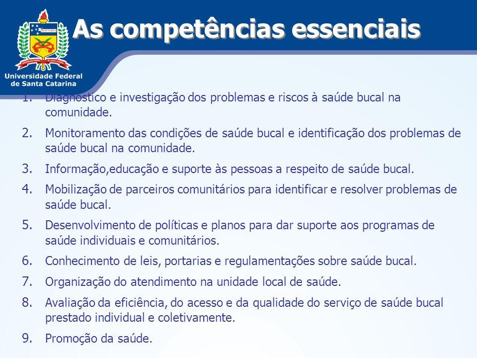 As competências essenciais 1. Diagnóstico e investigação dos problemas e riscos à saúde bucal na comunidade. 2. Monitoramento das condições de saúde b