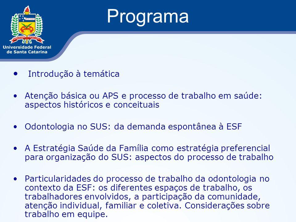 Programa Introdução à temática Atenção básica ou APS e processo de trabalho em saúde: aspectos históricos e conceituais Odontologia no SUS: da demanda