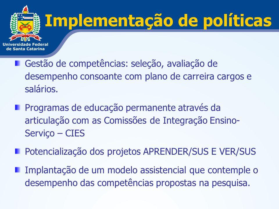 Implementação de políticas Gestão de competências: seleção, avaliação de desempenho consoante com plano de carreira cargos e salários. Programas de ed