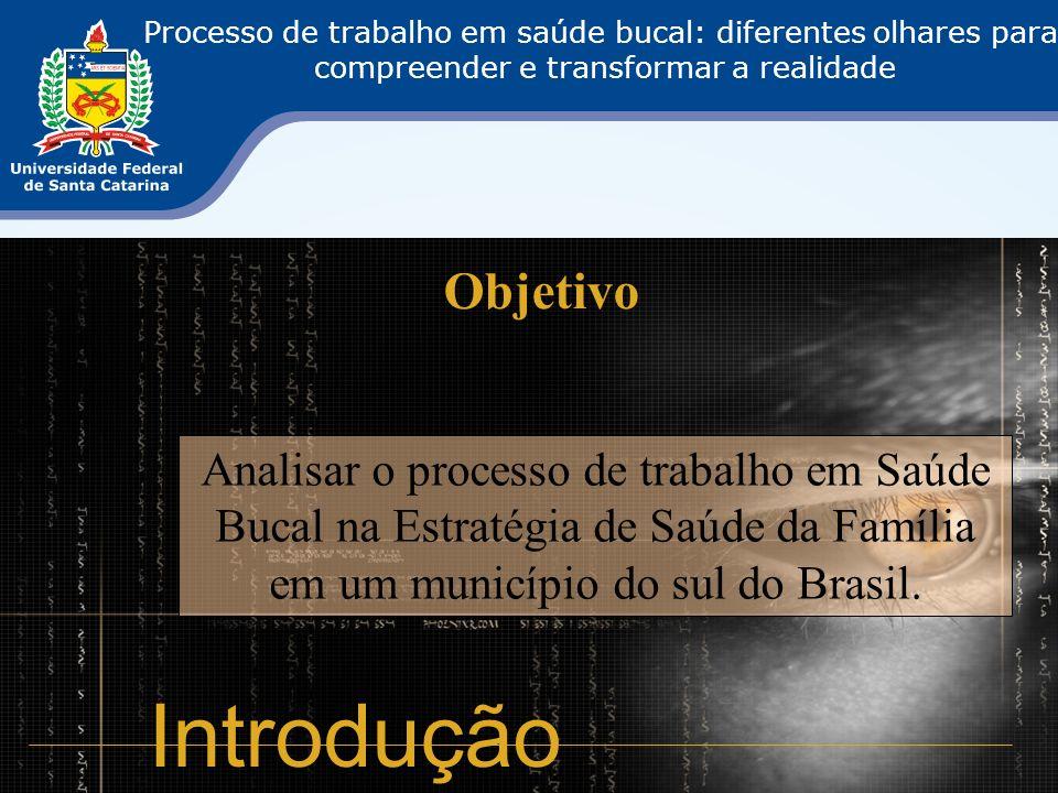 Objetivo Analisar o processo de trabalho em Saúde Bucal na Estratégia de Saúde da Família em um município do sul do Brasil. Introdução Processo de tra