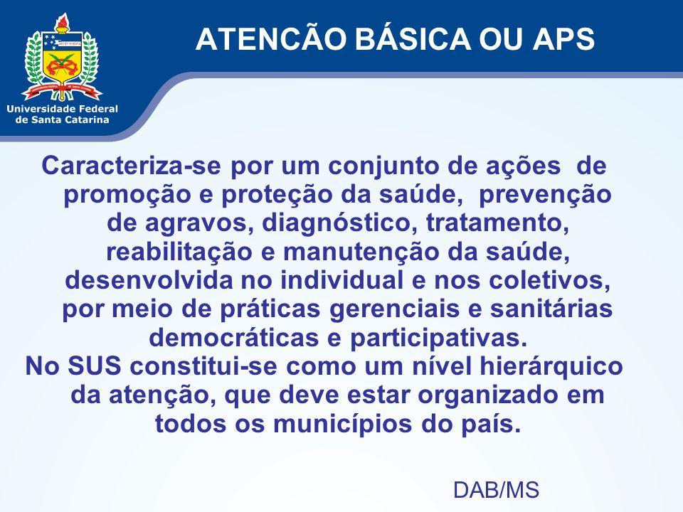 ATENCÃO BÁSICA OU APS Caracteriza-se por um conjunto de ações de promoção e proteção da saúde, prevenção de agravos, diagnóstico, tratamento, reabilit