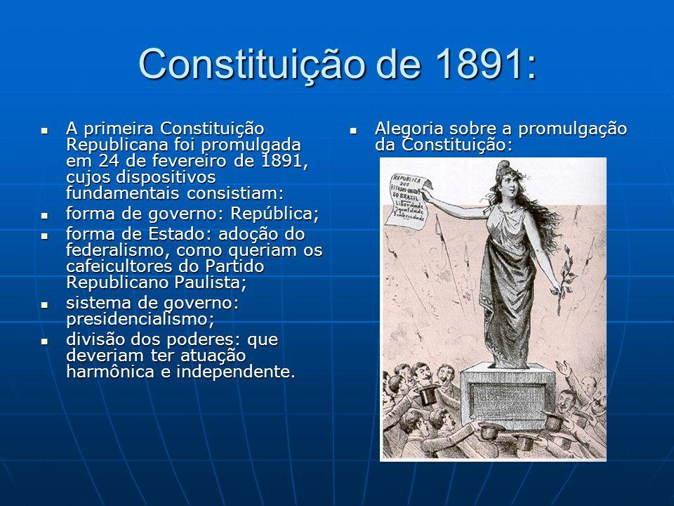 Constituição de 1891: A primeira Constituição Republicana foi promulgada em 24 de fevereiro de 1891, cujos dispositivos fundamentais consistiam: A pri