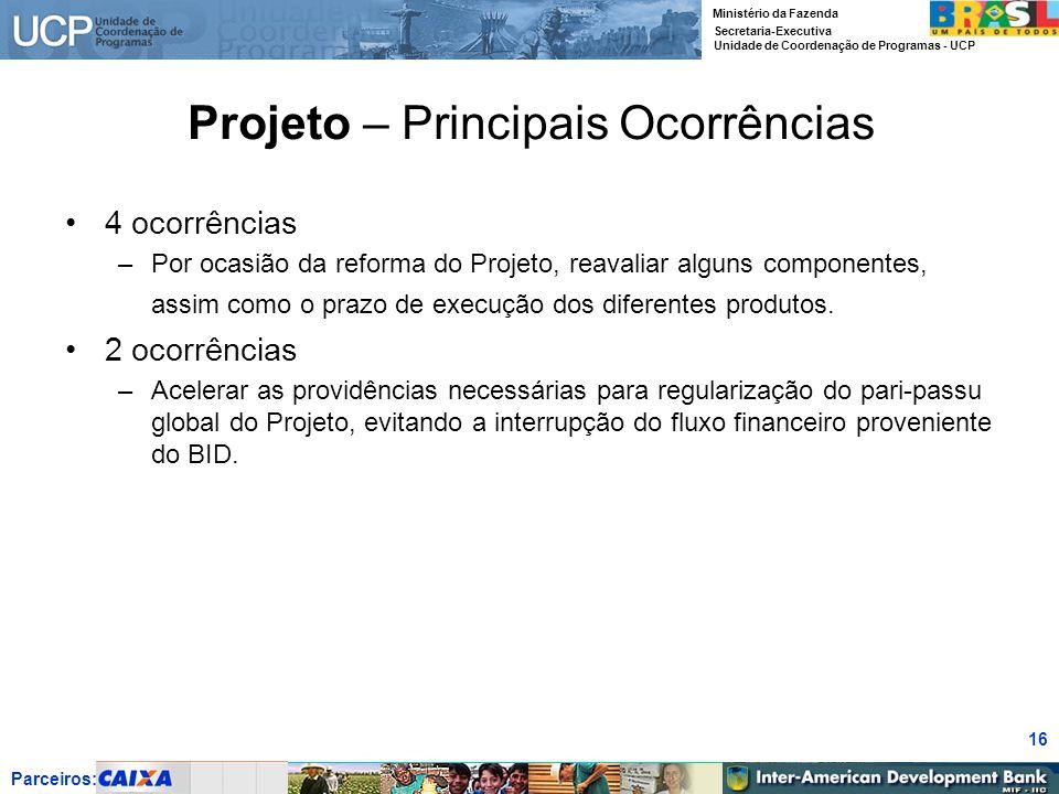 Parceiros: Ministério da Fazenda Secretaria-Executiva Unidade de Coordenação de Programas - UCP 16 Projeto – Principais Ocorrências 4 ocorrências –Por