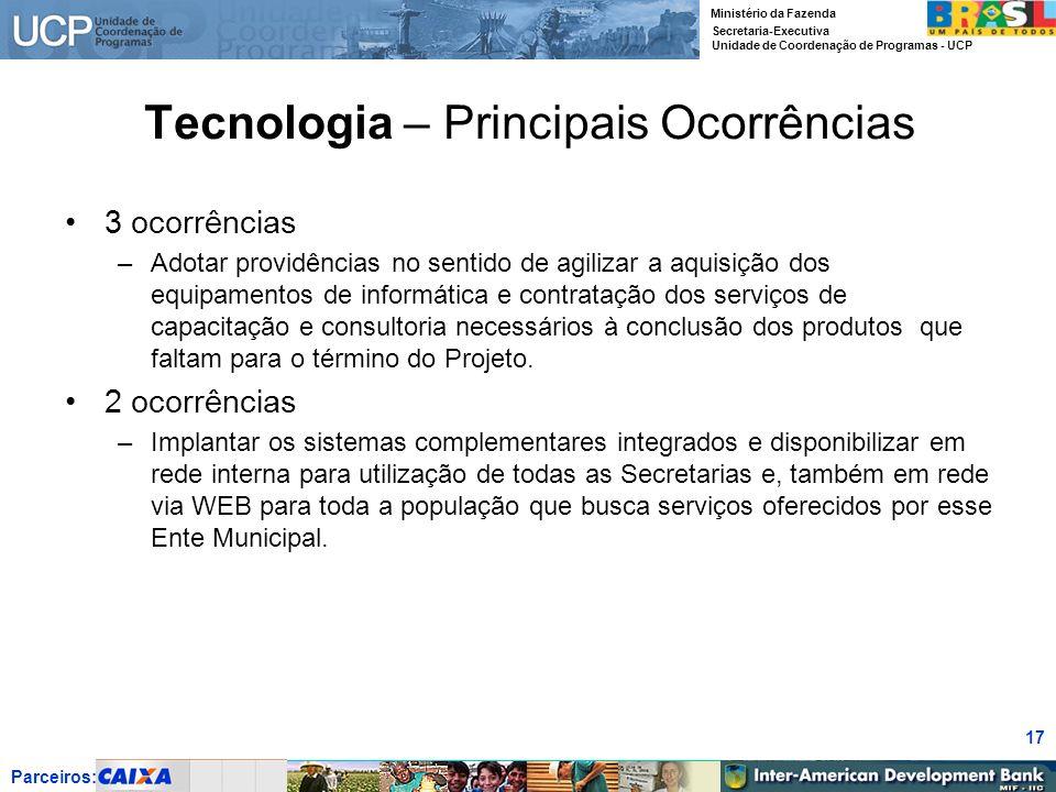 Parceiros: Ministério da Fazenda Secretaria-Executiva Unidade de Coordenação de Programas - UCP 17 Tecnologia – Principais Ocorrências 3 ocorrências –