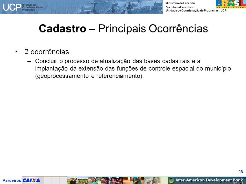 Parceiros: Ministério da Fazenda Secretaria-Executiva Unidade de Coordenação de Programas - UCP 18 Cadastro – Principais Ocorrências 2 ocorrências –Co