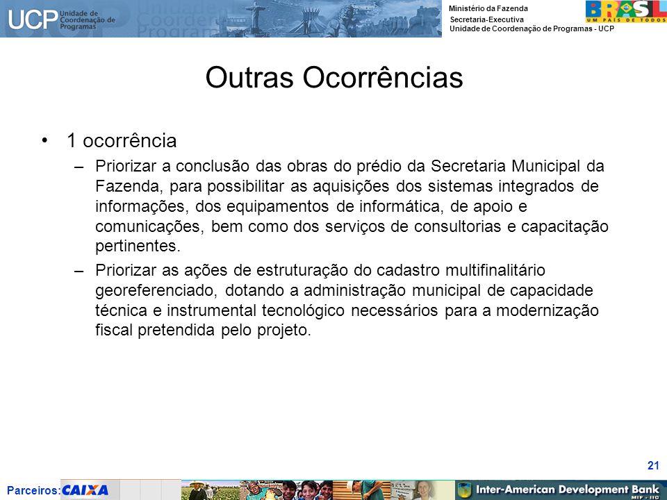 Parceiros: Ministério da Fazenda Secretaria-Executiva Unidade de Coordenação de Programas - UCP 21 Outras Ocorrências 1 ocorrência –Priorizar a conclu