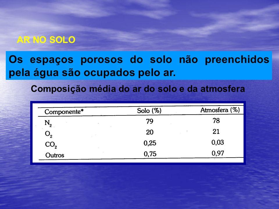 AR NO SOLO Os espaços porosos do solo não preenchidos pela água são ocupados pelo ar. Composição média do ar do solo e da atmosfera