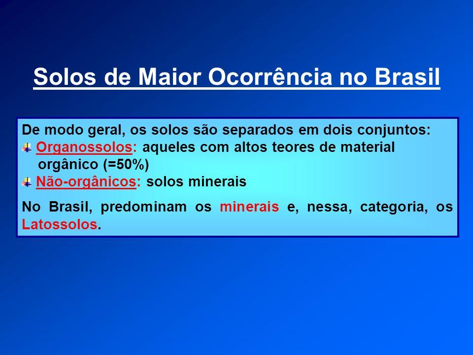Solos de Maior Ocorrência no Brasil De modo geral, os solos são separados em dois conjuntos: Organossolos: aqueles com altos teores de material orgâni