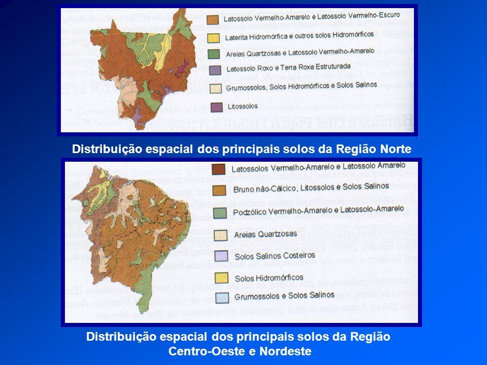 Distribuição espacial dos principais solos da Região Norte Distribuição espacial dos principais solos da Região Centro-Oeste e Nordeste
