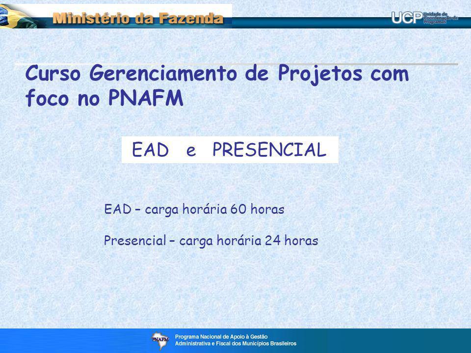 Curso Gerenciamento de Projetos com foco no PNAFM EAD e PRESENCIAL EAD – carga horária 60 horas Presencial – carga horária 24 horas