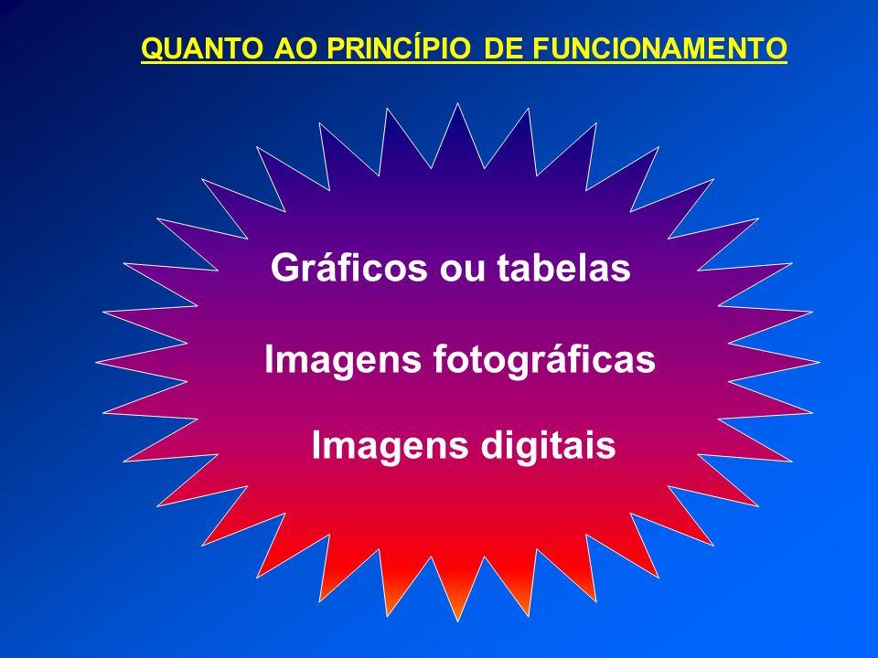 QUANTO AO PRINCÍPIO DE FUNCIONAMENTO Gráficos ou tabelas Imagens fotográficas Imagens digitais