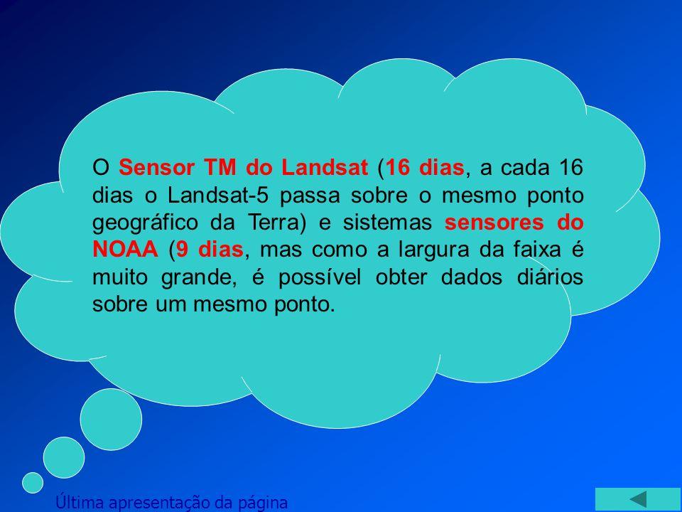 O Sensor TM do Landsat (16 dias, a cada 16 dias o Landsat-5 passa sobre o mesmo ponto geográfico da Terra) e sistemas sensores do NOAA (9 dias, mas co