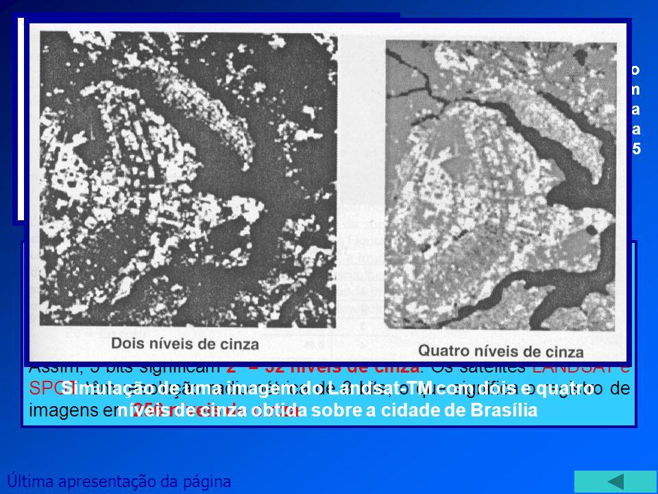 Comparação da resolução radiométrica de uma imagem com 1 bit (a esquerda) e a mesma imagem com uma resolução radiométrica de 5 bits. A Figura acima mo