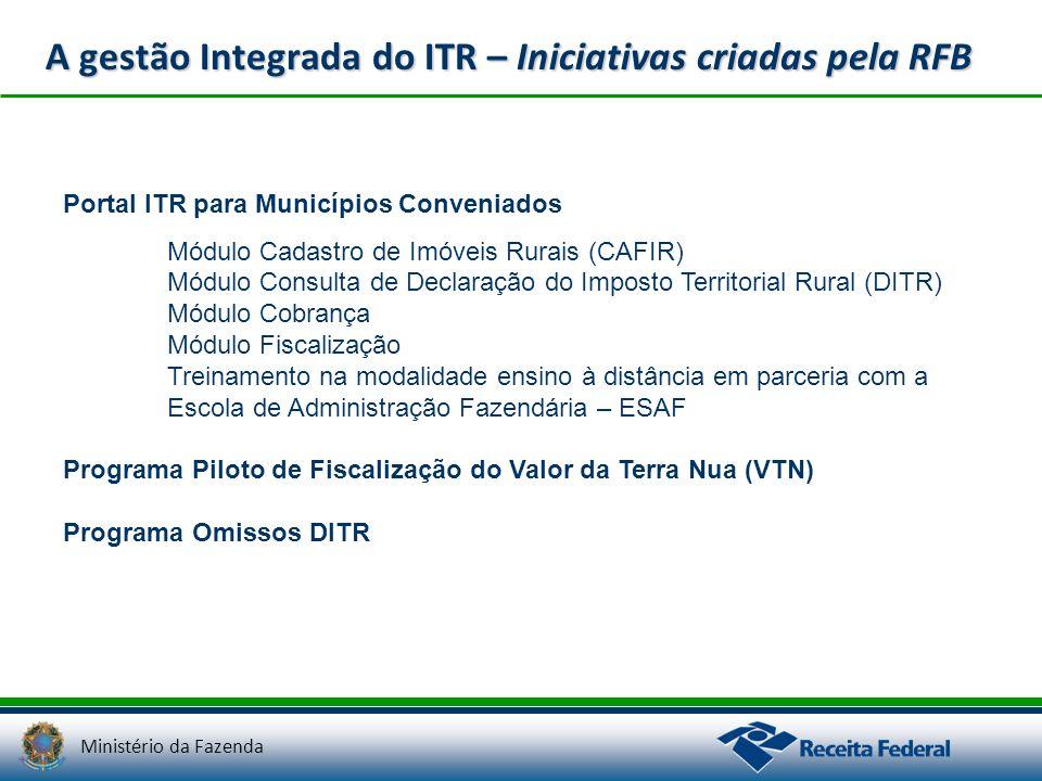 Ministério da Fazenda A gestão Integrada do ITR – Iniciativas criadas pela RFB Portal ITR para Municípios Conveniados Módulo Cadastro de Imóveis Rurai