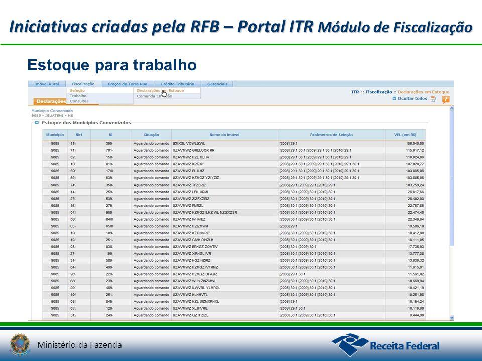Ministério da Fazenda Iniciativas criadas pela RFB – Portal ITR Módulo de Fiscalização Estoque para trabalho