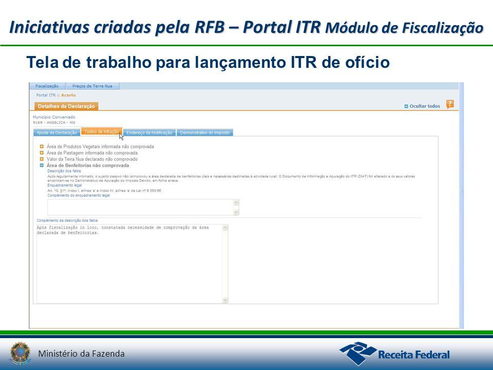Ministério da Fazenda Iniciativas criadas pela RFB – Portal ITR Módulo de Fiscalização Tela de trabalho para lançamento ITR de ofício