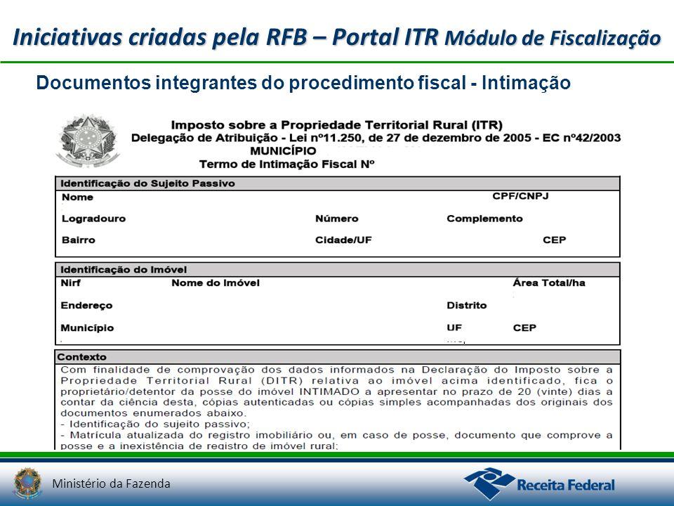 Ministério da Fazenda Documentos integrantes do procedimento fiscal - Intimação Iniciativas criadas pela RFB – Portal ITR Módulo de Fiscalização