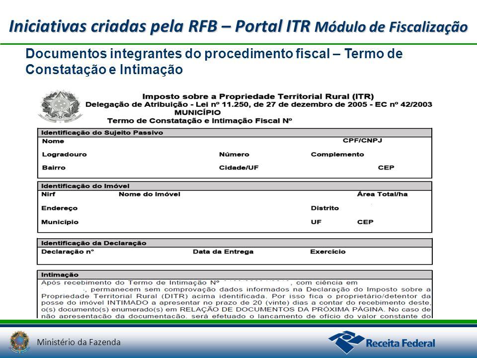 Ministério da Fazenda Iniciativas criadas pela RFB – Portal ITR Módulo de Fiscalização Documentos integrantes do procedimento fiscal – Termo de Consta