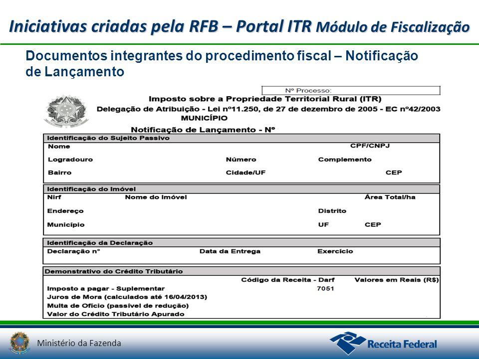 Ministério da Fazenda Iniciativas criadas pela RFB – Portal ITR Módulo de Fiscalização Documentos integrantes do procedimento fiscal – Notificação de