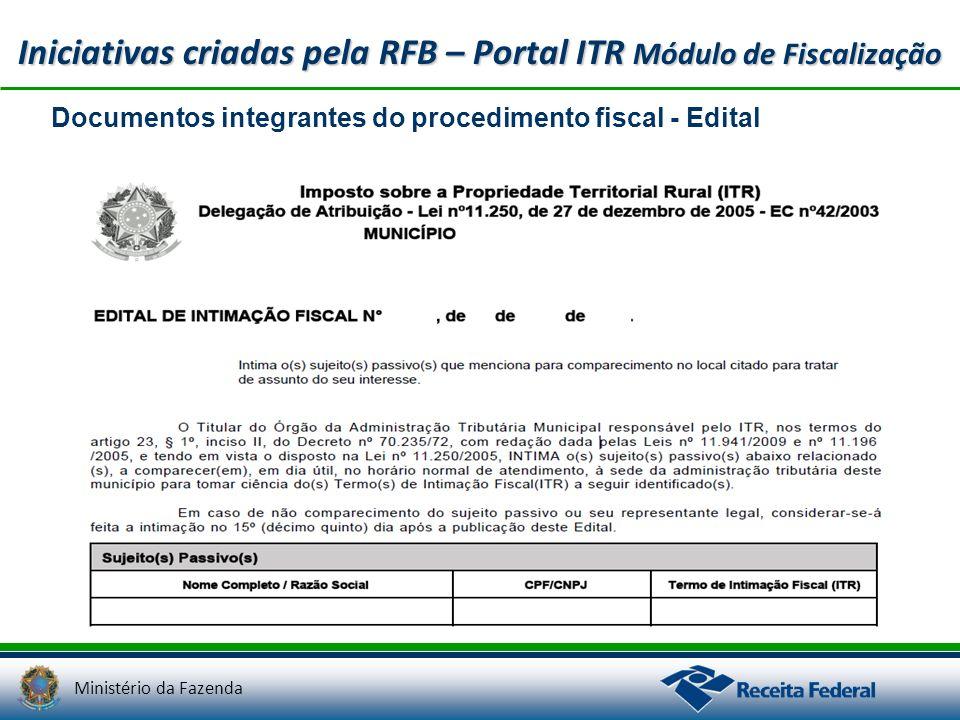 Ministério da Fazenda Iniciativas criadas pela RFB – Portal ITR Módulo de Fiscalização Documentos integrantes do procedimento fiscal - Edital