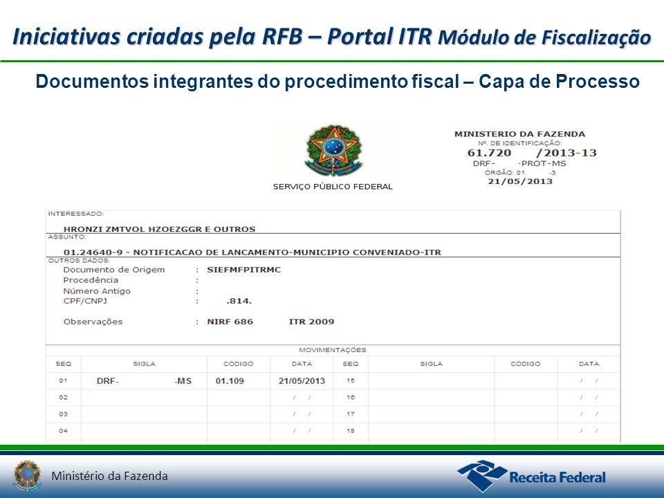 Ministério da Fazenda Iniciativas criadas pela RFB – Portal ITR Módulo de Fiscalização Documentos integrantes do procedimento fiscal – Capa de Process