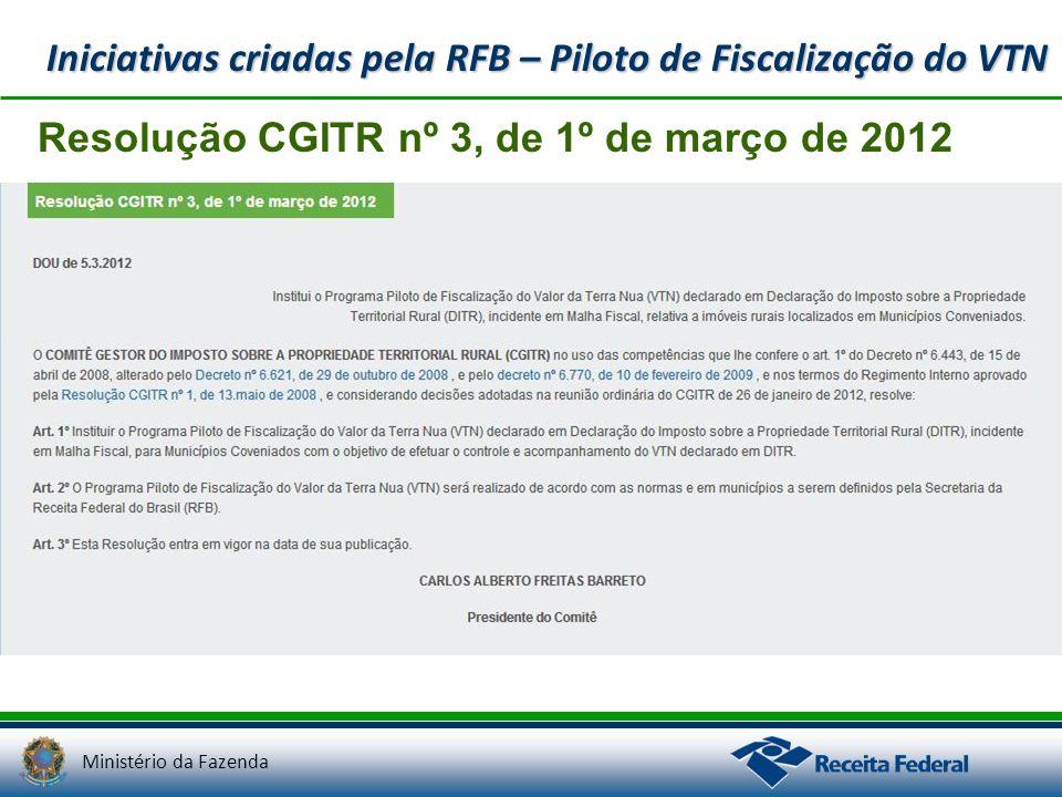 Ministério da Fazenda Resolução CGITR nº 3, de 1º de março de 2012 Iniciativas criadas pela RFB – Piloto de Fiscalização do VTN