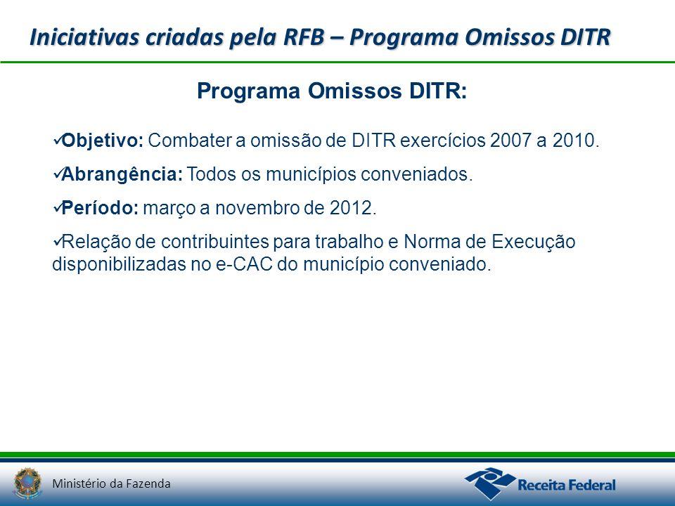 Ministério da Fazenda Iniciativas criadas pela RFB – Programa Omissos DITR Programa Omissos DITR: Objetivo: Combater a omissão de DITR exercícios 2007