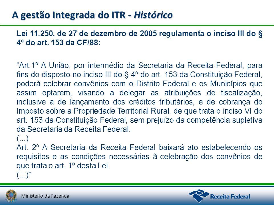 Ministério da Fazenda A gestão Integrada do ITR - Histórico Lei 11.250, de 27 de dezembro de 2005 regulamenta o inciso III do § 4º do art. 153 da CF/8