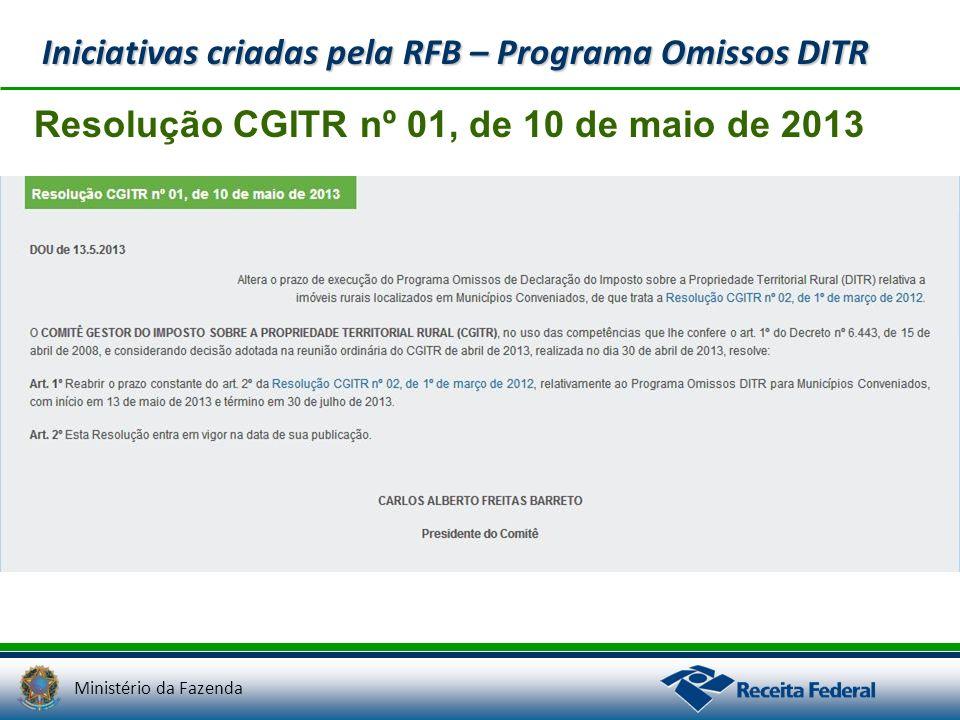 Ministério da Fazenda Resolução CGITR nº 01, de 10 de maio de 2013 Iniciativas criadas pela RFB – Programa Omissos DITR