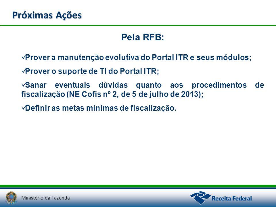 Ministério da Fazenda Pela RFB: Prover a manutenção evolutiva do Portal ITR e seus módulos; Prover o suporte de TI do Portal ITR; Sanar eventuais dúvi