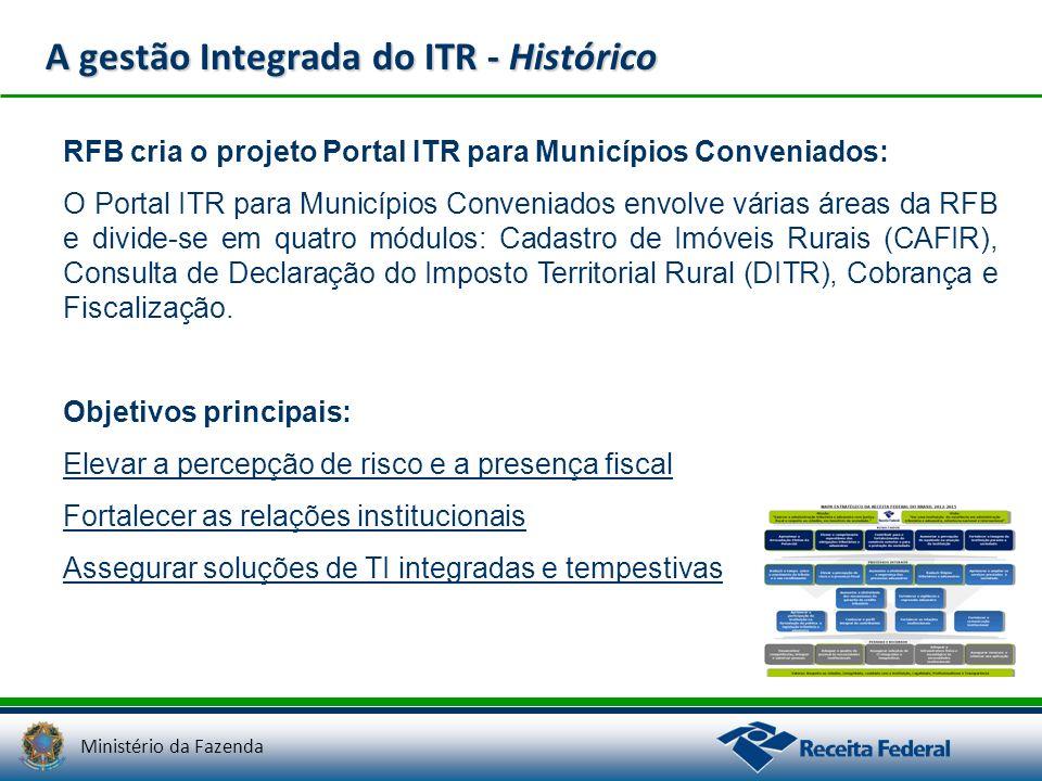 Ministério da Fazenda A gestão Integrada do ITR - Histórico RFB cria o projeto Portal ITR para Municípios Conveniados: O Portal ITR para Municípios Co