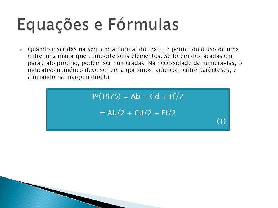 Quando inseridas na seqüência normal do texto, é permitido o uso de uma entrelinha maior que comporte seus elementos. Se forem destacadas em parágrafo