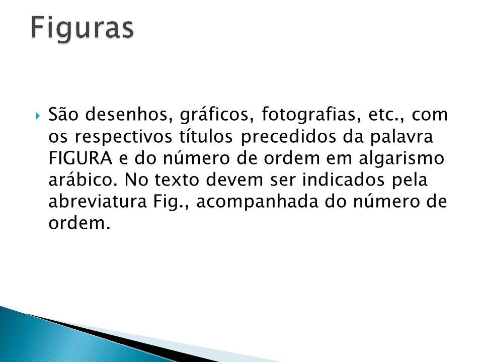 São desenhos, gráficos, fotografias, etc., com os respectivos títulos precedidos da palavra FIGURA e do número de ordem em algarismo arábico. No texto