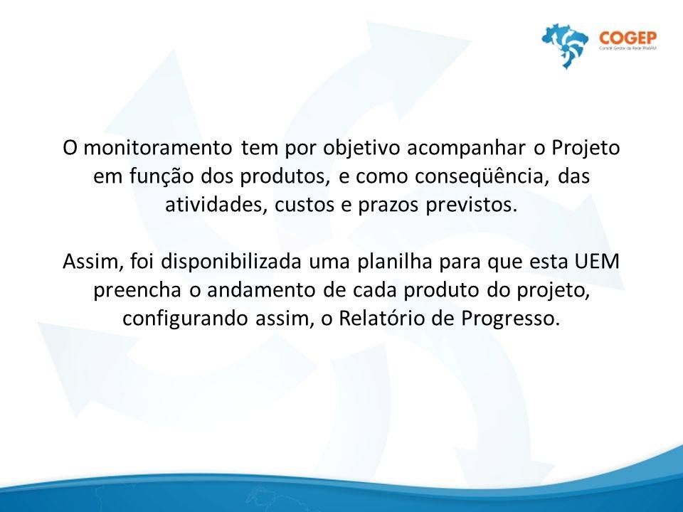O monitoramento tem por objetivo acompanhar o Projeto em função dos produtos, e como conseqüência, das atividades, custos e prazos previstos.