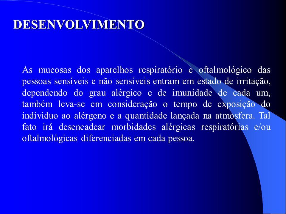 DESENVOLVIMENTO As mucosas dos aparelhos respiratório e oftalmológico das pessoas sensíveis e não sensíveis entram em estado de irritação, dependendo