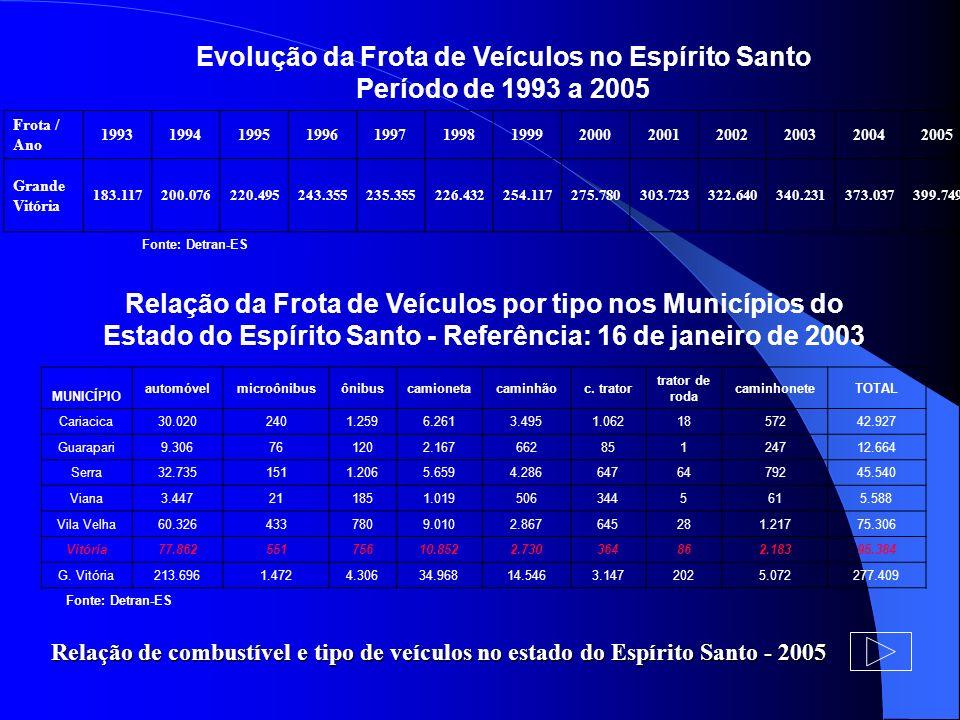 Evolução da Frota de Veículos no Espírito Santo Período de 1993 a 2005 Fonte: Detran-ES Relação da Frota de Veículos por tipo nos Municípios do Estado
