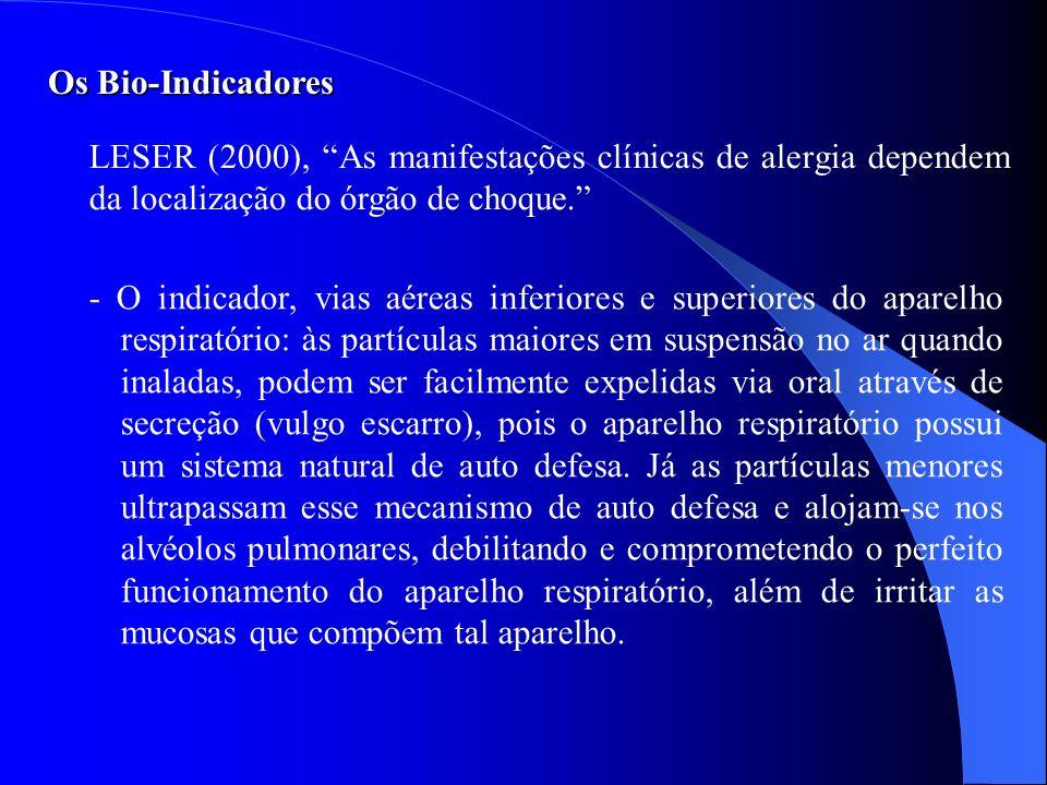 Os Bio-Indicadores LESER (2000), As manifestações clínicas de alergia dependem da localização do órgão de choque. - O indicador, vias aéreas inferiore