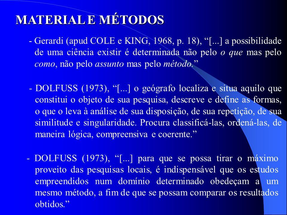 MATERIAL E MÉTODOS - Gerardi (apud COLE e KING, 1968, p. 18), [...] a possibilidade de uma ciência existir é determinada não pelo o que mas pelo como,