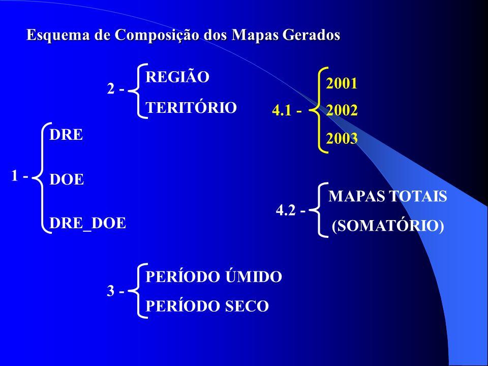 Esquema de Composição dos Mapas Gerados 1 - DRE DOE DRE_DOE 2 - REGIÃO TERITÓRIO 3 - PERÍODO ÚMIDO PERÍODO SECO 4.1 - 2001 2003 2002 4.2 - MAPAS TOTAI