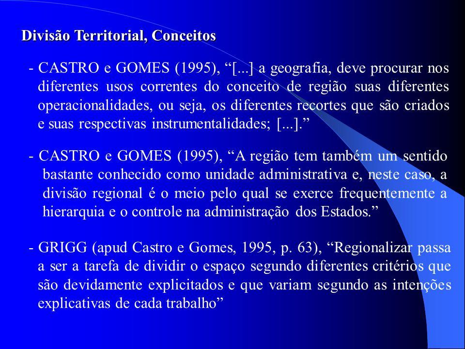 - CASTRO e GOMES (1995), [...] a geografia, deve procurar nos diferentes usos correntes do conceito de região suas diferentes operacionalidades, ou se