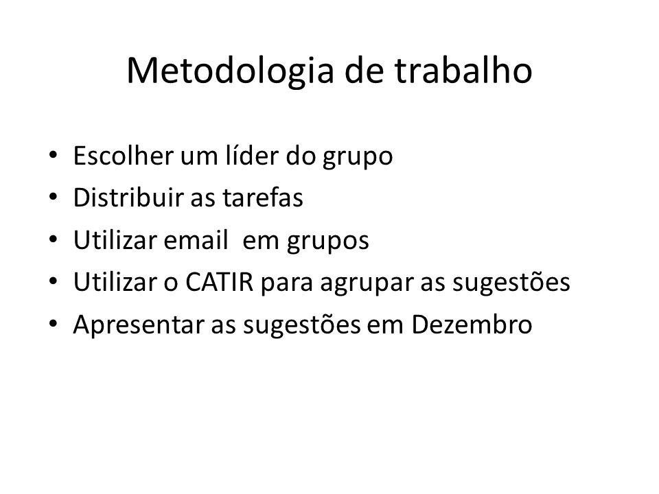 Metodologia de trabalho Escolher um líder do grupo Distribuir as tarefas Utilizar email em grupos Utilizar o CATIR para agrupar as sugestões Apresentar as sugestões em Dezembro