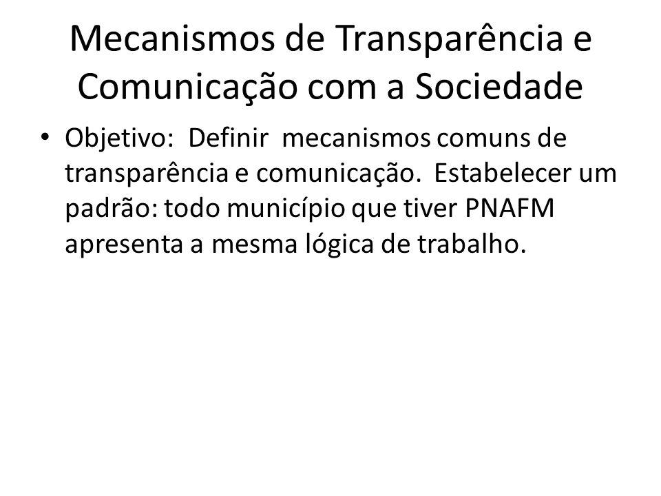 Mecanismos de Transparência e Comunicação com a Sociedade Objetivo: Definir mecanismos comuns de transparência e comunicação.