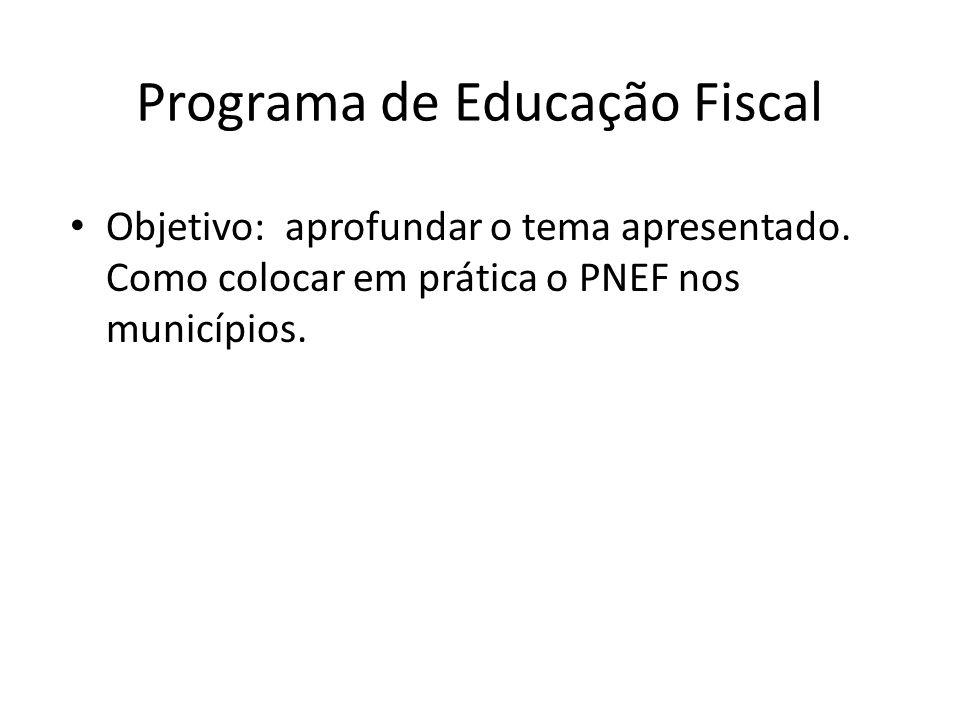 Programa de Educação Fiscal Objetivo: aprofundar o tema apresentado.
