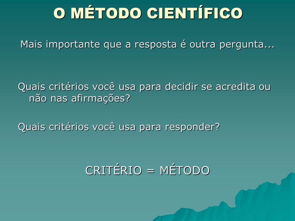 O MÉTODO CIENTÍFICO Mais importante que a resposta é outra pergunta... Quais critérios você usa para decidir se acredita ou não nas afirmações? Quais