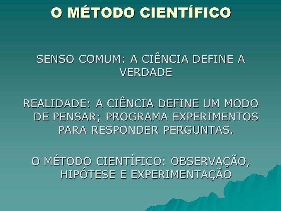 O MÉTODO CIENTÍFICO TAREFA DE DESCOBRIR A VERDADE CRITÉRIOS CLAROS CRITÉRIOS CLAROS MÉTODOS PRECISOS DE INVESTIGAÇÃO MÉTODOS PRECISOS DE INVESTIGAÇÃO ILUSÕES DOS SENTIDOS PRECONCEITOS CRENÇAS PESSOAIS SUPERSTIÇÕES