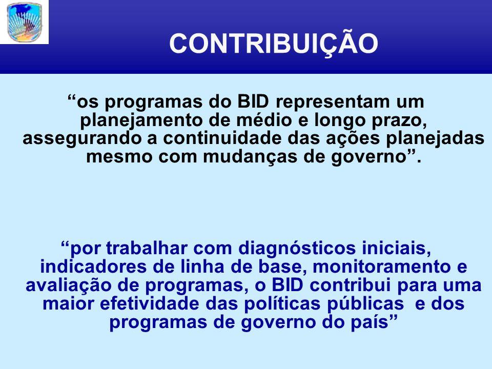 CONTRIBUIÇÃO os programas do BID representam um planejamento de médio e longo prazo, assegurando a continuidade das ações planejadas mesmo com mudanças de governo.