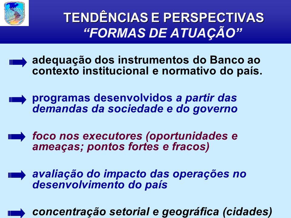 TENDÊNCIAS E PERSPECTIVAS TENDÊNCIAS E PERSPECTIVAS FORMAS DE ATUAÇÃO adequação dos instrumentos do Banco ao contexto institucional e normativo do país.