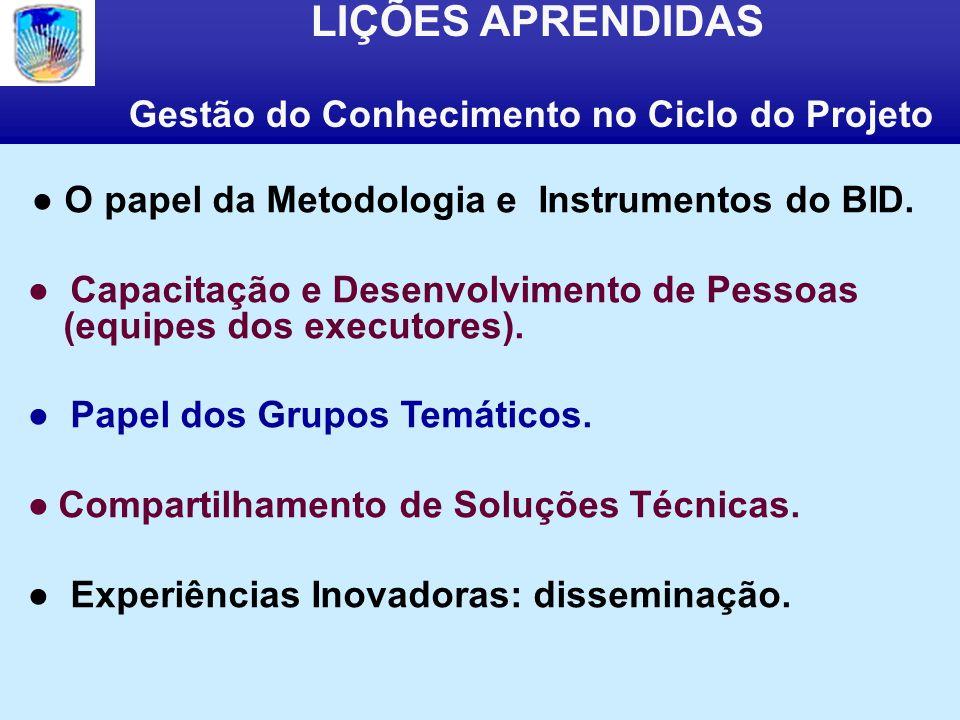 LIÇÕES APRENDIDAS Gestão do Conhecimento no Ciclo do Projeto O papel da Metodologia e Instrumentos do BID.
